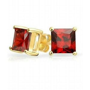 Red Cubic Zirconia Square Stud Earrings